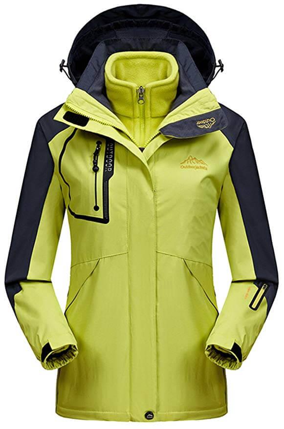 Sawadikaa Women's Outdoor Mountain Snow 3-in-1 Insulated Windbreaker Jacket
